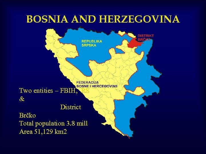 BOSNIA AND HERZEGOVINA Two entities – FBIH, RS & District Brčko Total population 3.