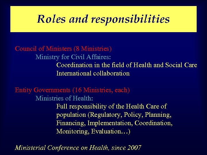 Roles and responsibilities Council of Ministers (8 Ministries) Ministry for Civil Affaires: Coordination in