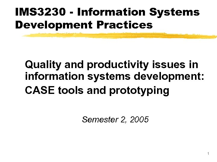 IMS 3230 - Information Systems Development Practices Quality and productivity issues in information systems