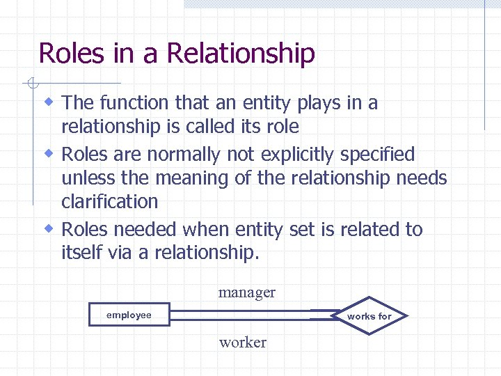 Roles in a Relationship w The function that an entity plays in a relationship