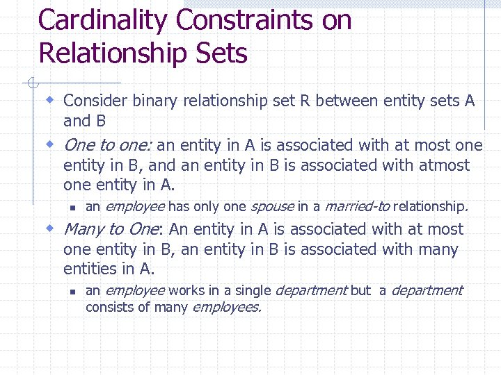 Cardinality Constraints on Relationship Sets w Consider binary relationship set R between entity sets