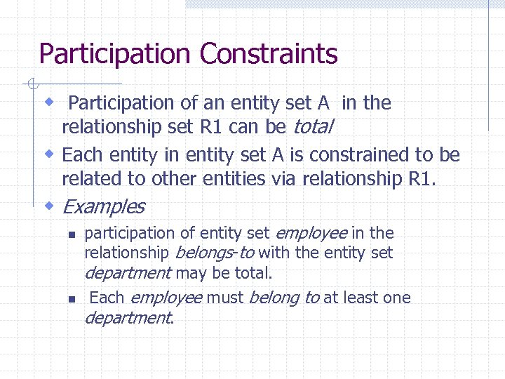 Participation Constraints w Participation of an entity set A in the relationship set R