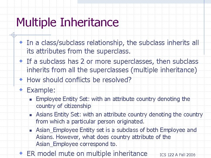 Multiple Inheritance w In a class/subclass relationship, the subclass inherits all its attributes from
