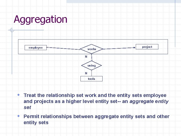 Aggregation employee works project N using N tools w Treat the relationship set work