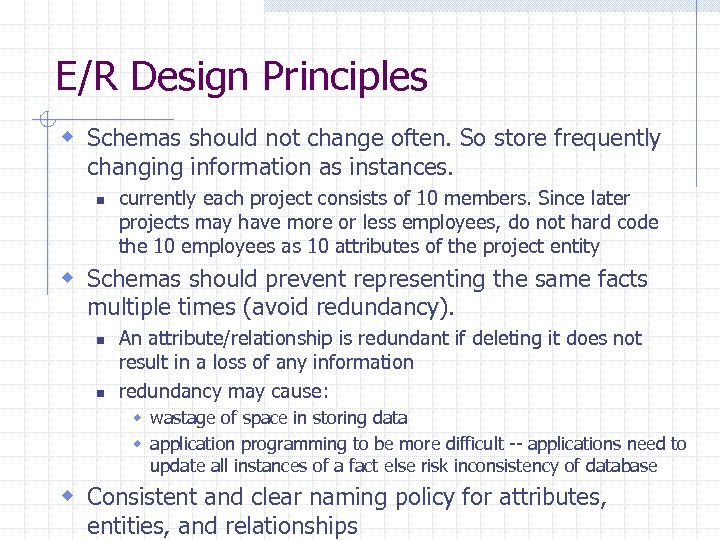 E/R Design Principles w Schemas should not change often. So store frequently changing information