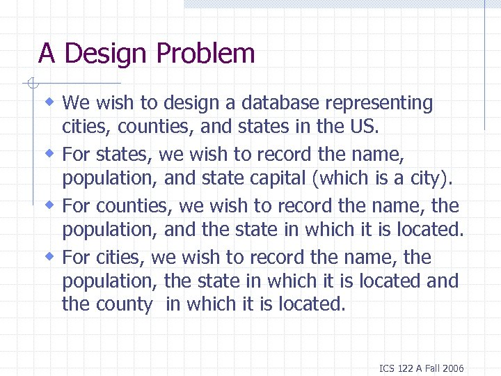 A Design Problem w We wish to design a database representing cities, counties, and