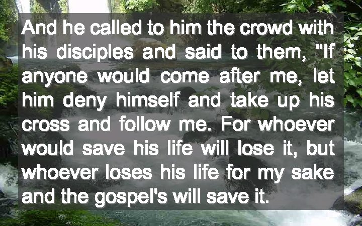 And he called to him the crowd with his disciples and said to them,