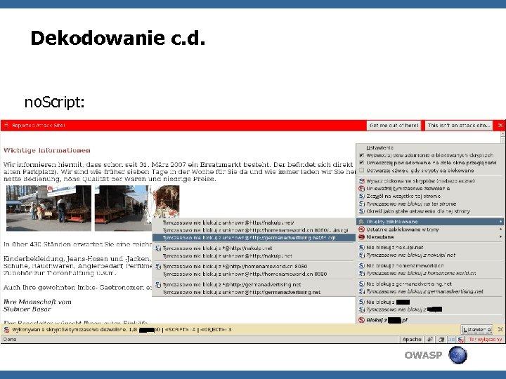 Dekodowanie c. d. no. Script: OWASP