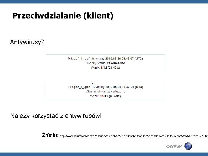 Przeciwdziałanie (klient) Antywirusy? Należy korzystać z antywirusów! Źródło: http: //www. virustotal. com/pl/analisis/f 6 f