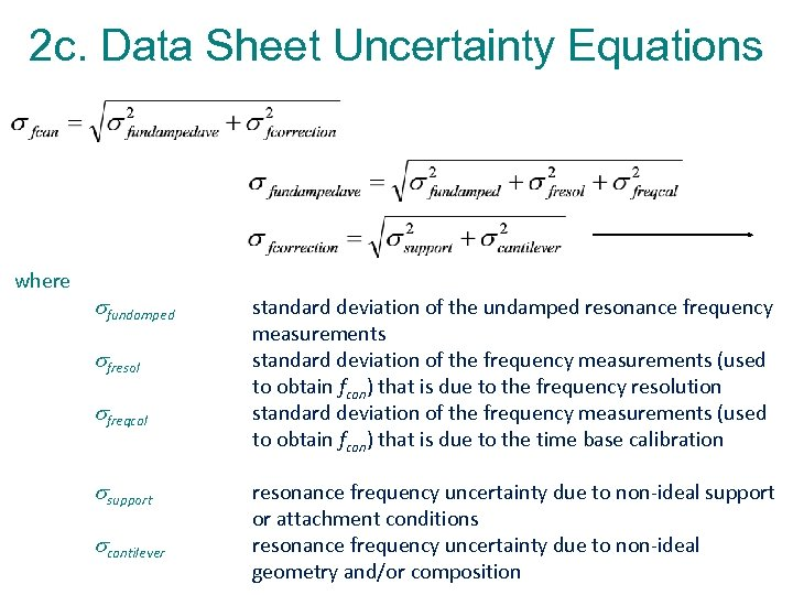 2 c. Data Sheet Uncertainty Equations where fundamped fresol freqcal support cantilever standard deviation
