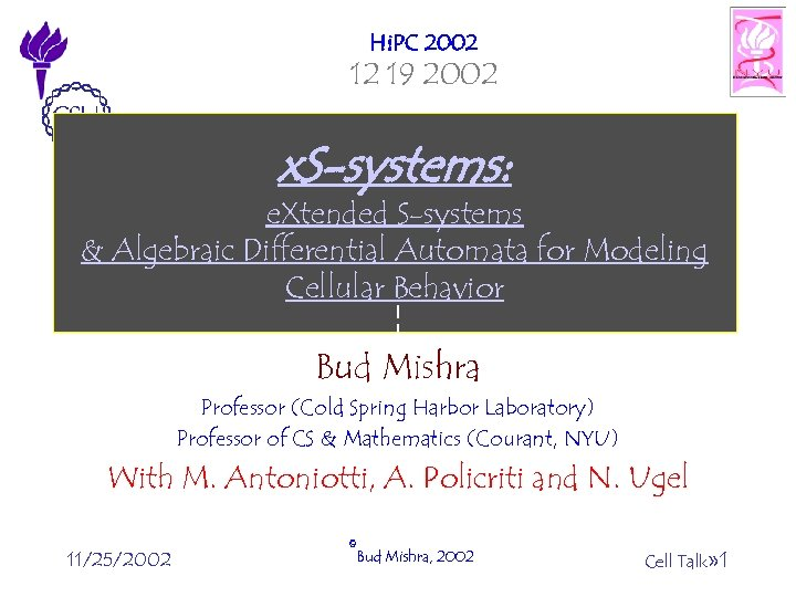 Hi. PC 2002 12 19 2002 x. S-systems: e. Xtended S-systems & Algebraic Differential