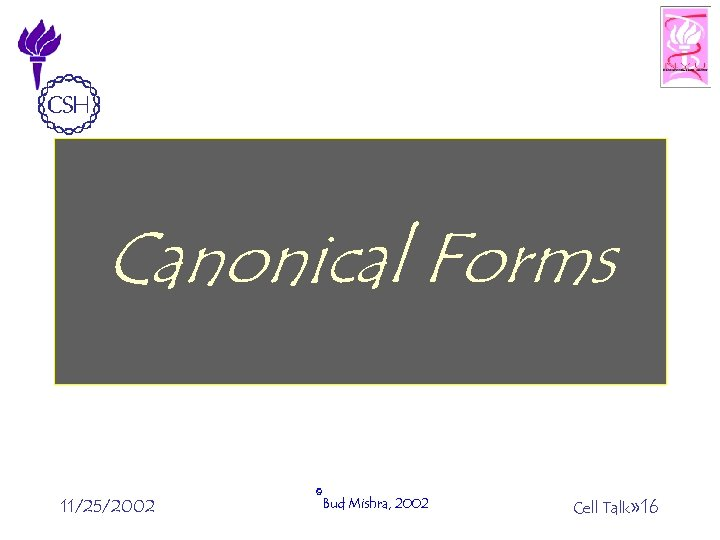 Canonical Forms 11/25/2002 ©Bud Mishra, 2002 Cell Talk» 16