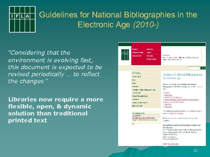 """Guidelines for National Bibliographies in the Electronic Age (2010 -) """"Considering that the environment"""
