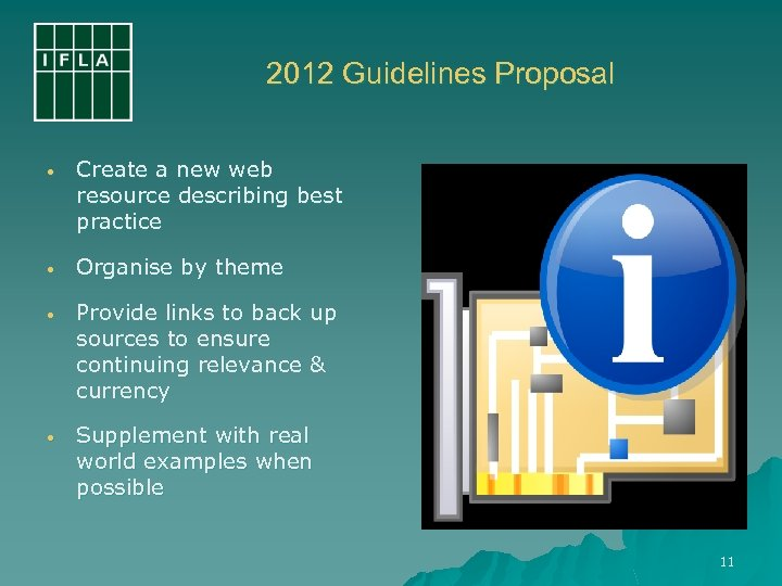 2012 Guidelines Proposal • Create a new web resource describing best practice • Organise