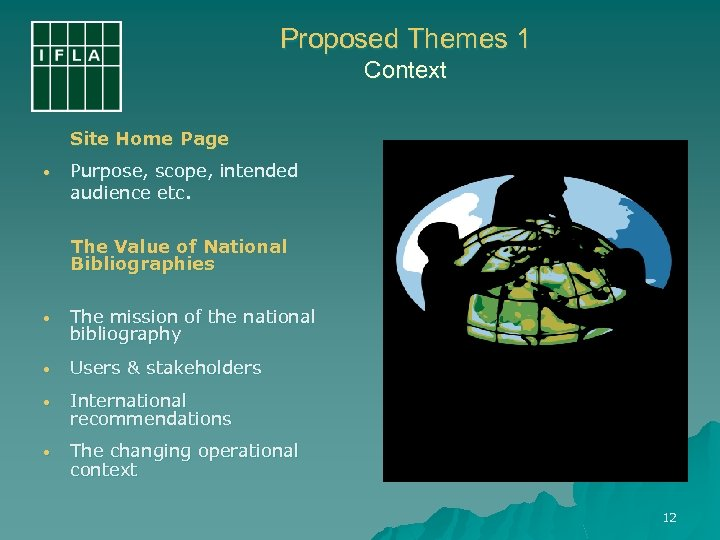 Proposed Themes 1 Context Site Home Page • Purpose, scope, intended audience etc. The