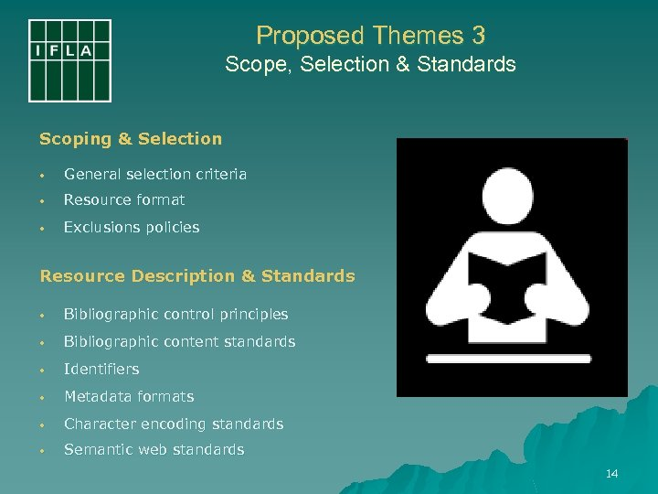 Proposed Themes 3 Scope, Selection & Standards Scoping & Selection • General selection criteria