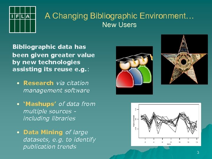 A Changing Bibliographic Environment… New Users Bibliographic data has been given greater value by