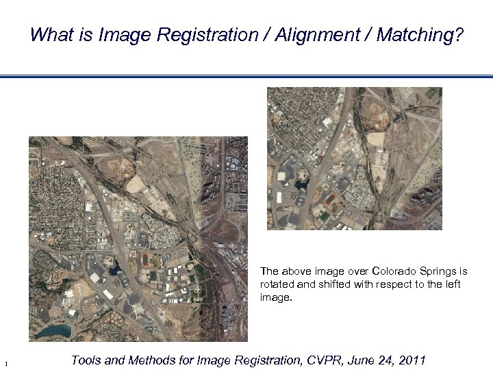 What is Image Registration / Alignment / Matching? The above image over Colorado Springs