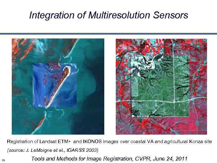 Integration of Multiresolution Sensors Registration of Landsat ETM+ and IKONOS images over coastal VA