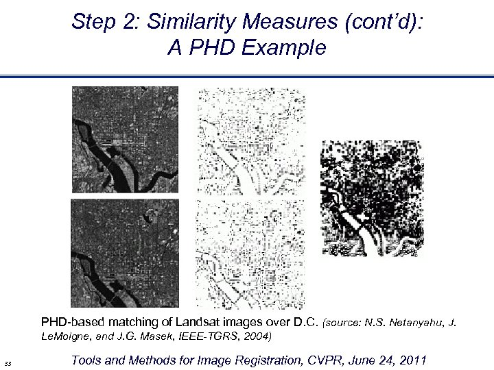 Step 2: Similarity Measures (cont'd): A PHD Example PHD-based matching of Landsat images over