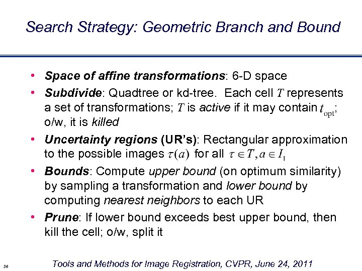 Search Strategy: Geometric Branch and Bound • Space of affine transformations: 6 -D space