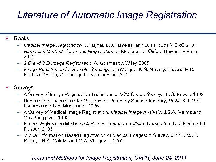 Literature of Automatic Image Registration • Books: – Medical Image Registration, J. Hajnal, D.