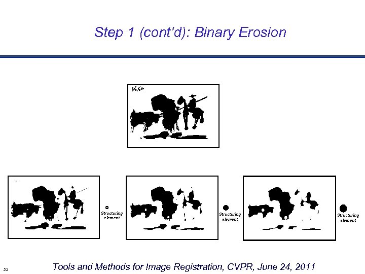 Step 1 (cont'd): Binary Erosion Structuring element 55 Structuring element Tools and Methods for