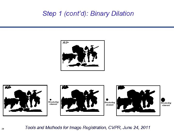Step 1 (cont'd): Binary Dilation Structuring element 56 Structuring element Tools and Methods for