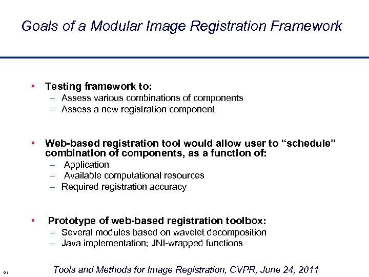 Goals of a Modular Image Registration Framework • Testing framework to: – Assess various