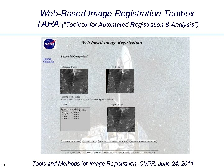 "Web-Based Image Registration Toolbox TARA (""Toolbox for Automated Registration & Analysis"") 69 Tools and"