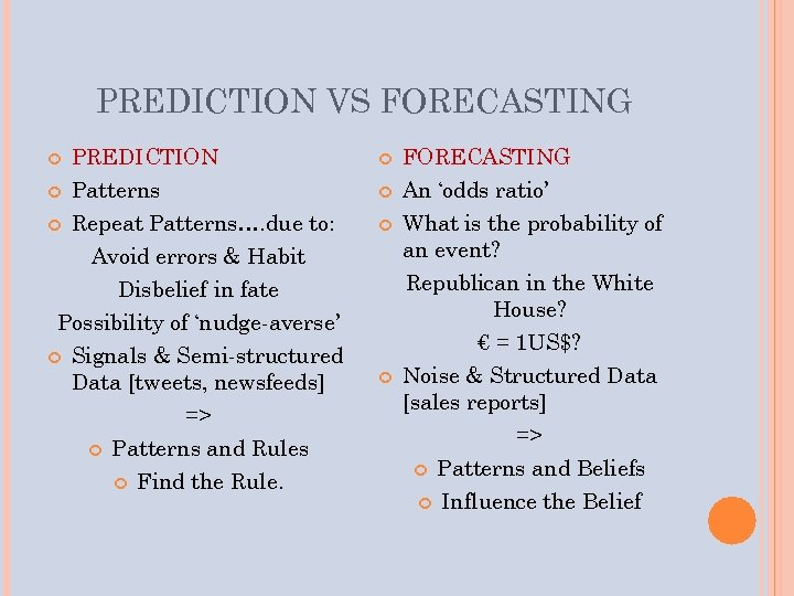 PREDICTION VS FORECASTING PREDICTION Patterns Repeat Patterns…. due to: Avoid errors & Habit Disbelief