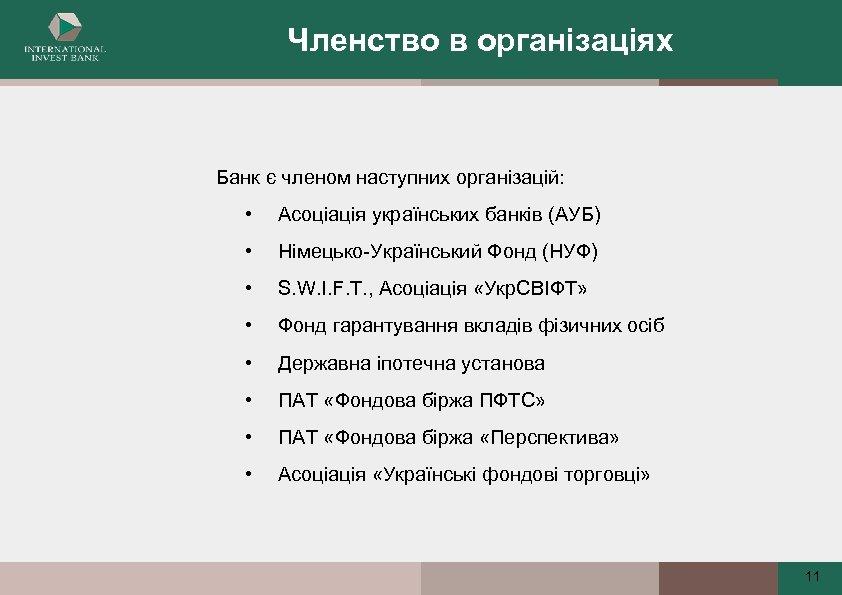 Членство в організаціях Банк є членом наступних організацій: • Асоціація українських банків (АУБ) •