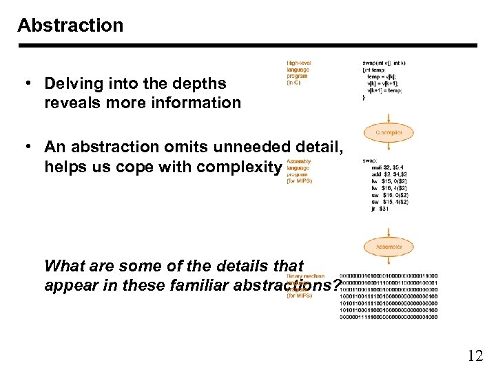 Abstraction • Delving into the depths reveals more information • An abstraction omits unneeded