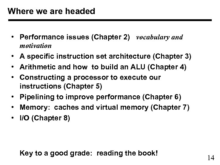 Where we are headed • Performance issues (Chapter 2) vocabulary and motivation • A