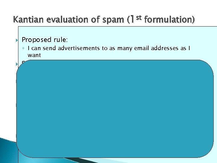 Kantian evaluation of spam (1 st formulation) Proposed rule: ◦ I can send advertisements