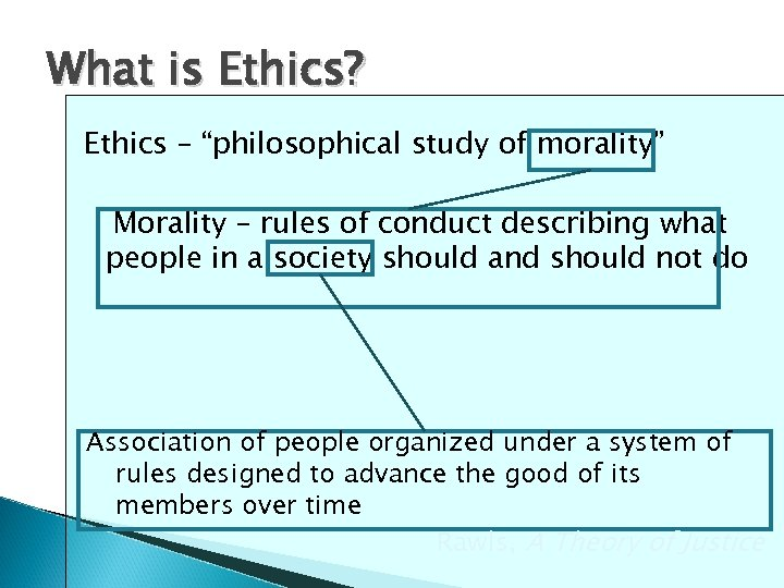 "What is Ethics? Ethics – ""philosophical study of morality"" Morality – rules of conduct"