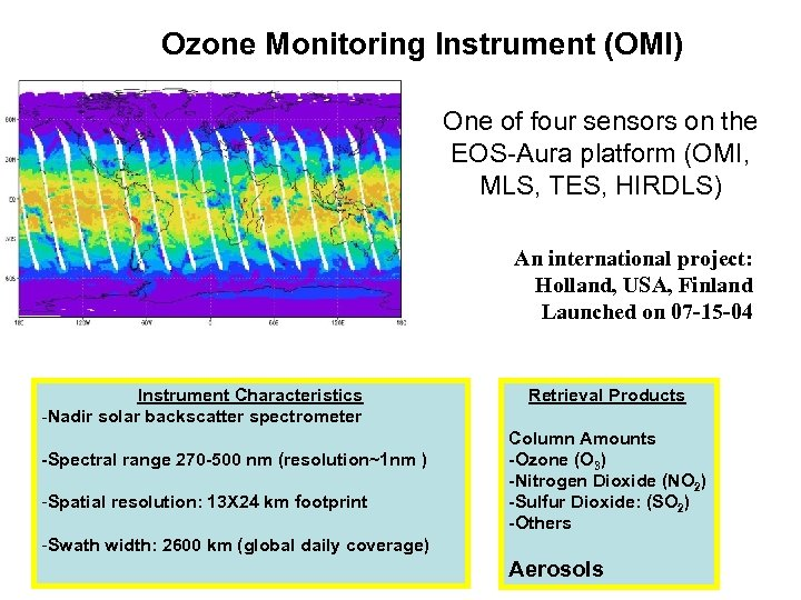 Ozone Monitoring Instrument (OMI) One of four sensors on the EOS-Aura platform (OMI, MLS,