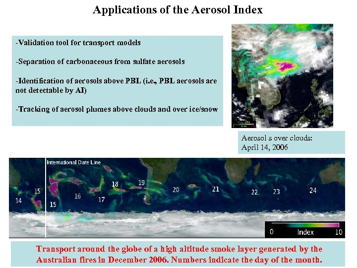 Applications of the Aerosol Index -Validation tool for transport models -Separation of carbonaceous from