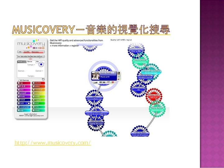 MUSICOVERY-音樂的視覺化搜尋 http: //www. musicovery. com/