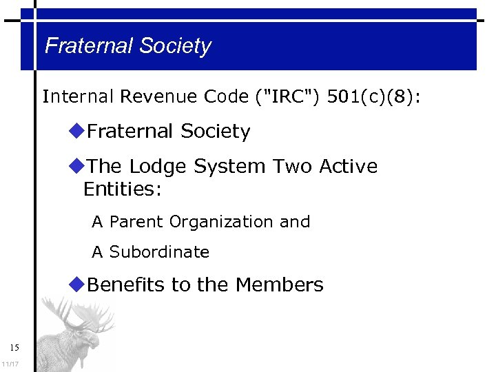 Fraternal Society Internal Revenue Code (