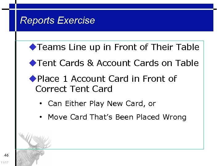 Reports Exercise Teams Line up in Front of Their Table Tent Cards & Account