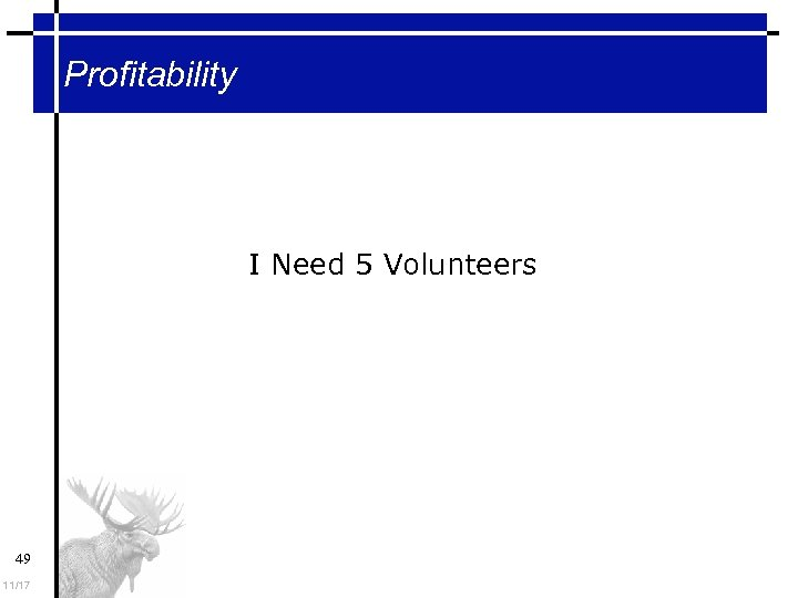 Profitability I Need 5 Volunteers 49 11/17