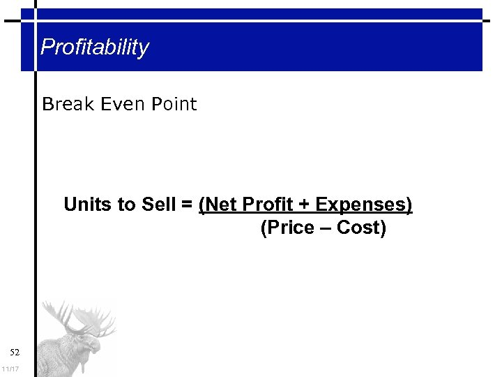 Profitability Break Even Point Units to Sell = (Net Profit + Expenses) (Price –