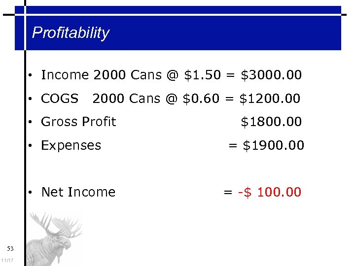 Profitability • Income 2000 Cans @ $1. 50 = $3000. 00 • COGS 2000