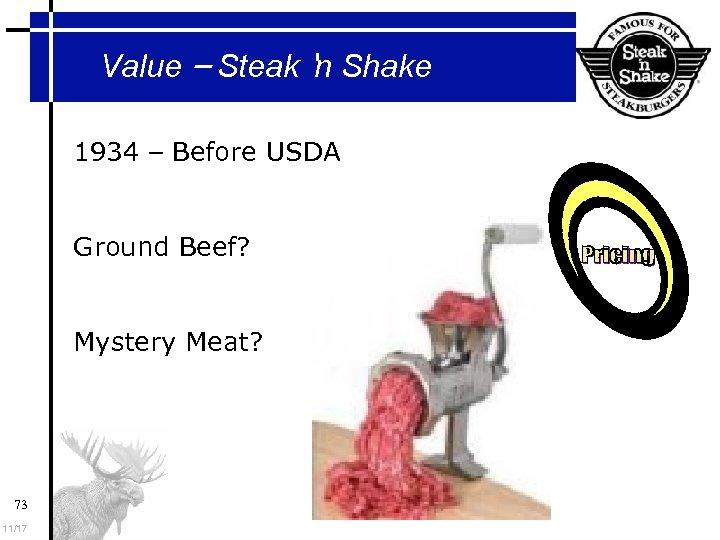Value – Steak 'n Shake 1934 – Before USDA Ground Beef? Mystery Meat? 73