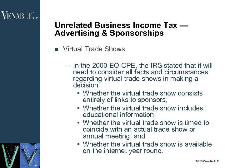 Unrelated Business Income Tax — Advertising & Sponsorships Virtual Trade Shows – In the