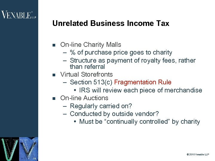 Unrelated Business Income Tax On-line Charity Malls – % of purchase price goes to