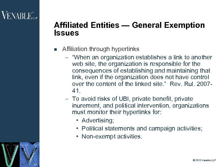 "Affiliated Entities — General Exemption Issues Affiliation through hyperlinks – ""When an organization establishes"