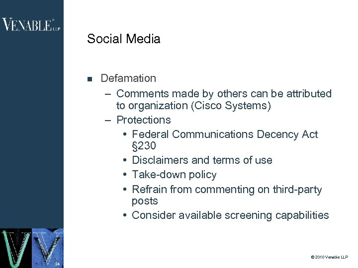 Social Media Defamation – Comments made by others can be attributed to organization (Cisco