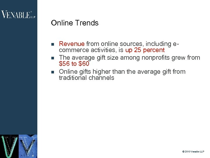 Online Trends Revenue from online sources, including ecommerce activities, is up 25 percent The